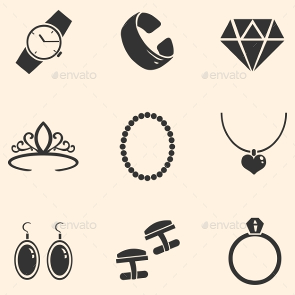 GraphicRiver Vector Set of Jewellery Icons 9150851