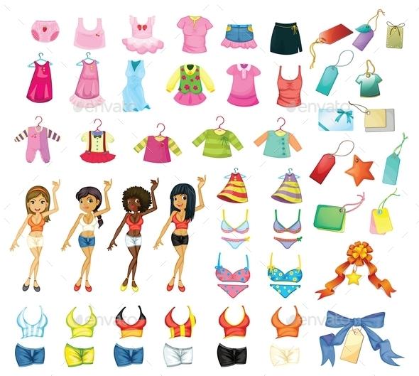 GraphicRiver Girl Dress Set 9150878