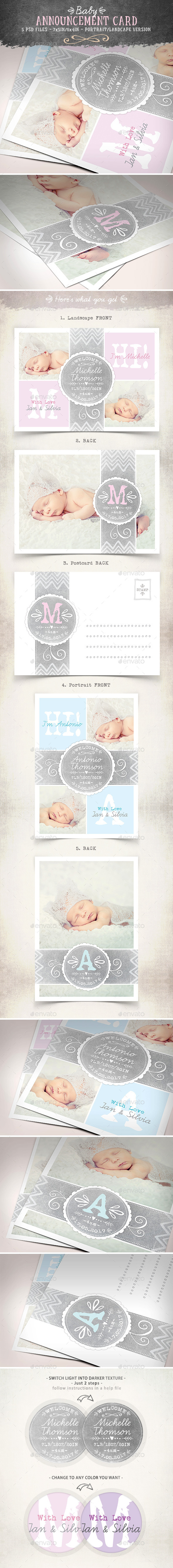 GraphicRiver Swirls Baby Announcement Card Vol.3 9129349