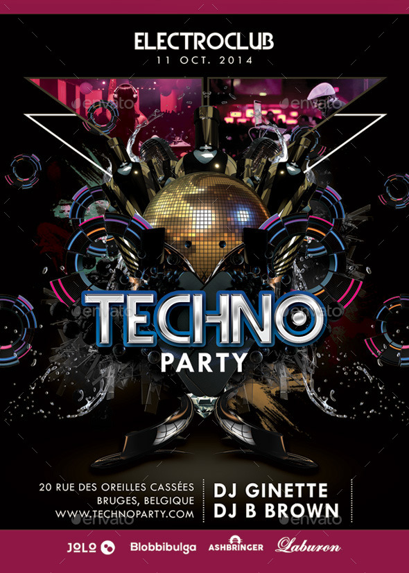 GraphicRiver Abstract Electro Techno Party Night With Dj 9152203