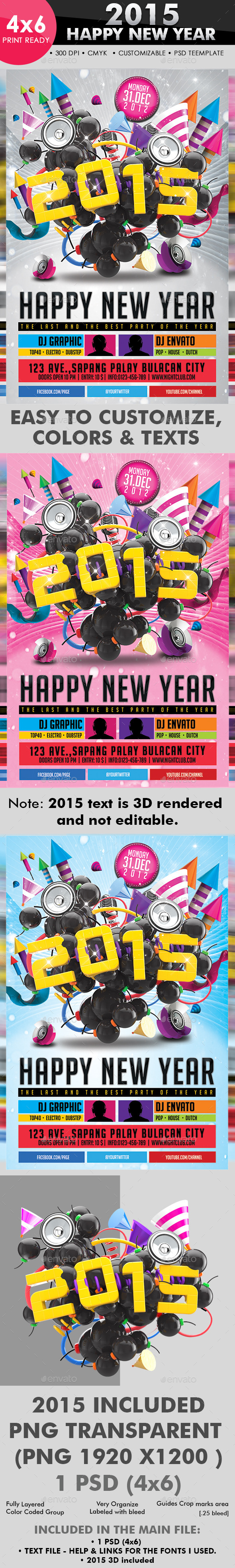 2015 Happy New Year Flyer Template - Clubs & Parties Events