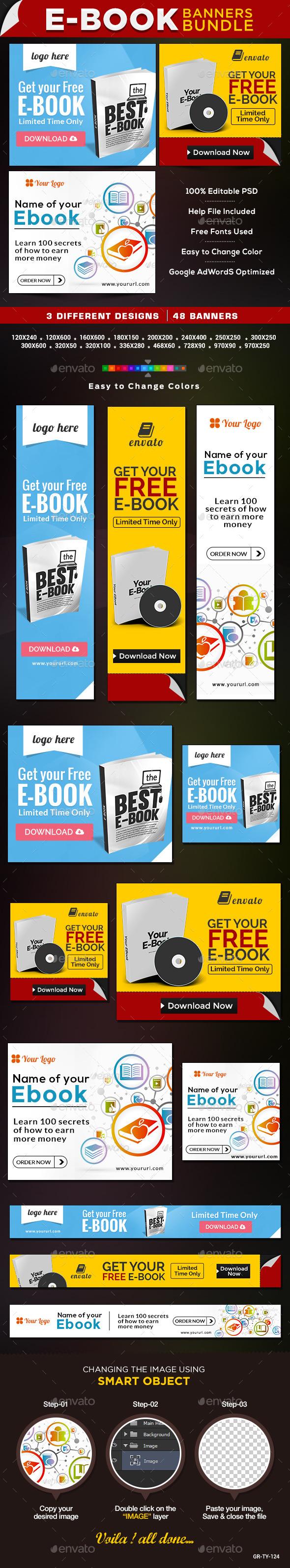 GraphicRiver E-Books & Digital Products Bundle 3 Banner Sets 9154338
