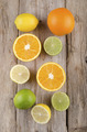 orange, lemon and lime on rustic wood - PhotoDune Item for Sale
