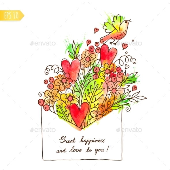 GraphicRiver Greeting Card with Hearts Bird and Flowers 9154595