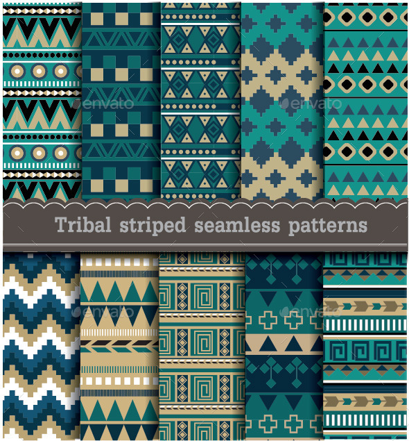 GraphicRiver Tribal Striped Seamless Patterns 9154690