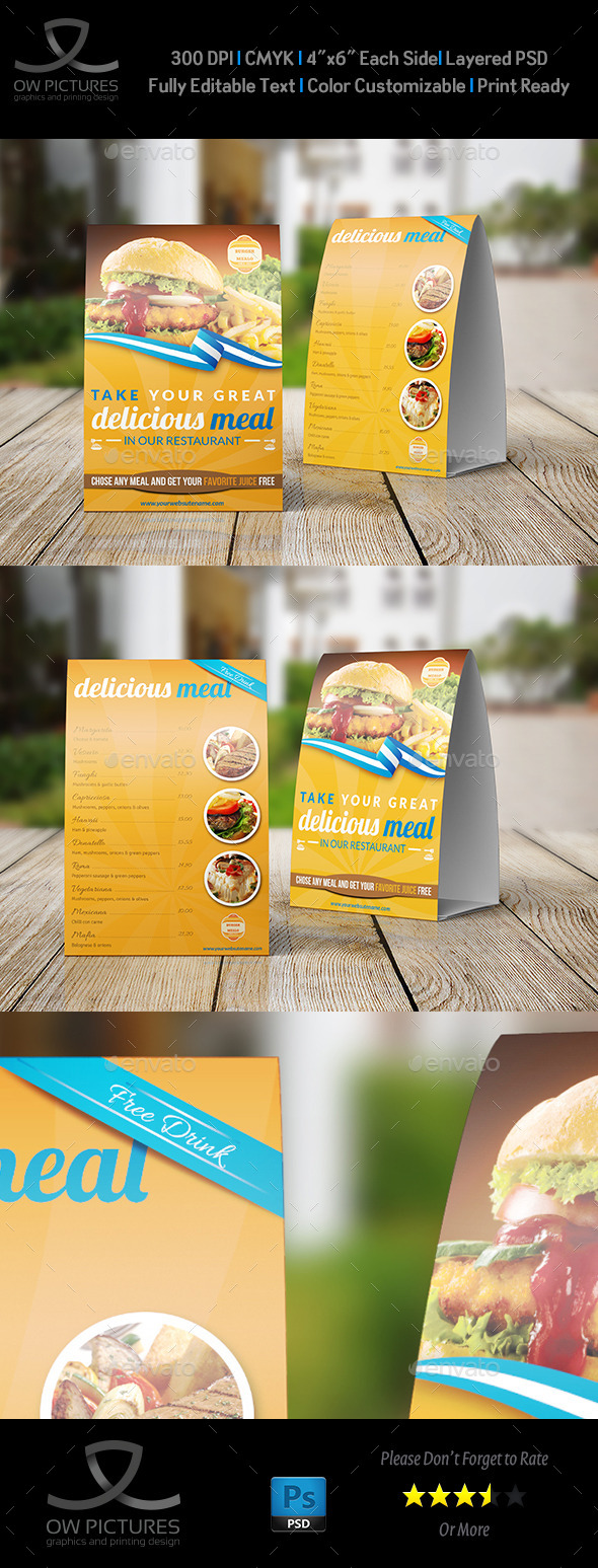 GraphicRiver Restaurant and Cafe Tabel Tent Template 9155014