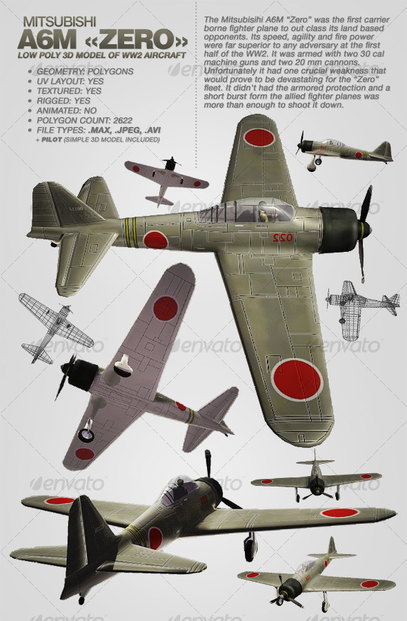 3DOcean Mitsubisihi A6M ZERO rigged 3Ds aircraft 118089