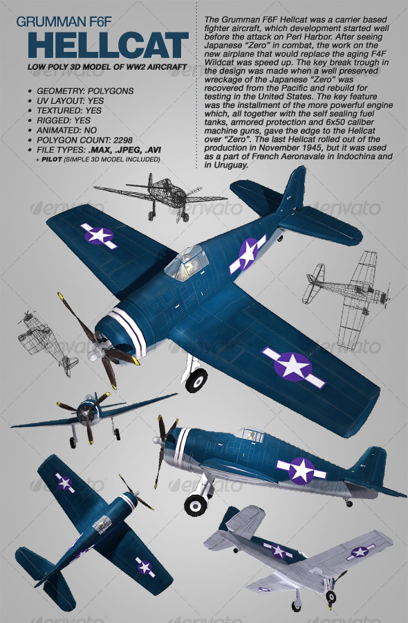 Grumman F6F Hellcat rigged 3Ds model of aircraft