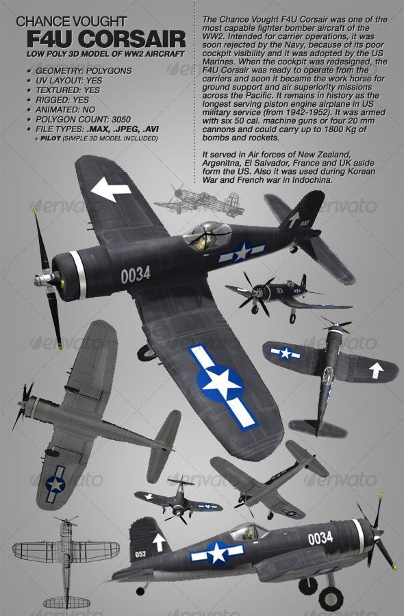 3DOcean Chance Vought F4U Corsair rigged 3Ds WW2 aircraft 118097