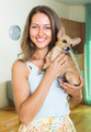 Smiling girl with Russkiy Toy Terrier - PhotoDune Item for Sale
