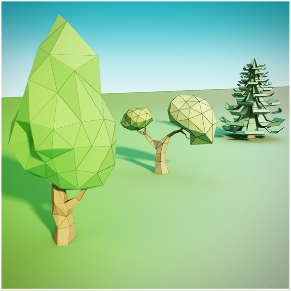 3DOcean Trees low poly 9157103