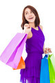 asian smiling young woman holding shopping bag over white background - PhotoDune Item for Sale