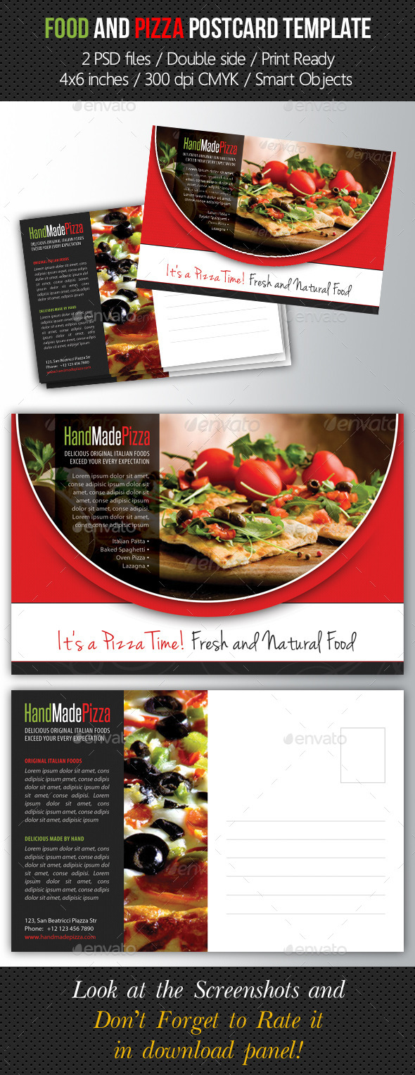 GraphicRiver Food and Pizza Postcard Template 9157588