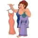 Cartoon Overweight Young Woman Holding Dresses - GraphicRiver Item for Sale