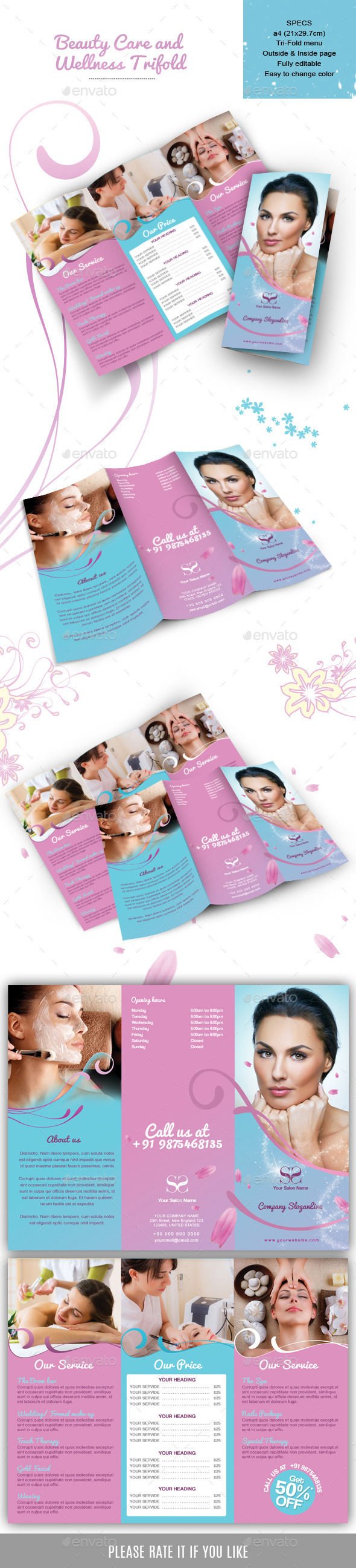 GraphicRiver Beauty Care and Wellness Trifold 9158064
