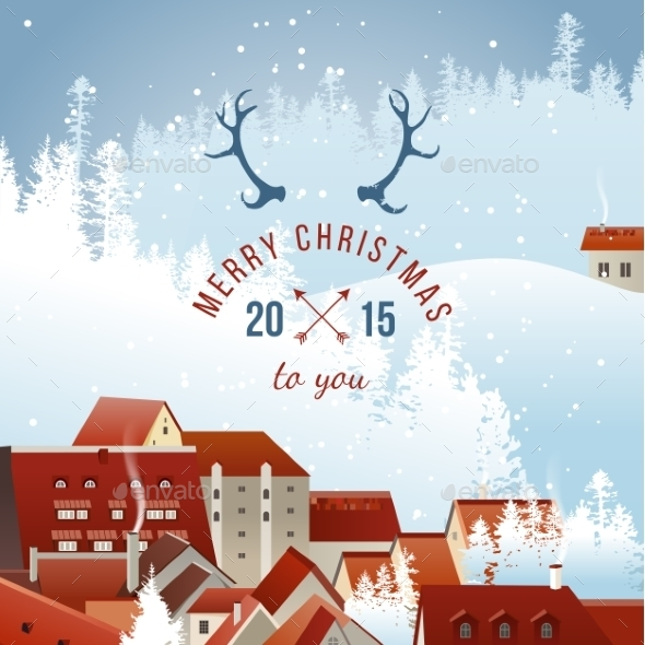 GraphicRiver Landscape with Christmas Type Design 9158416