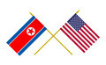 Flags of North Korea and USA, 3d Render, Isolated - PhotoDune Item for Sale