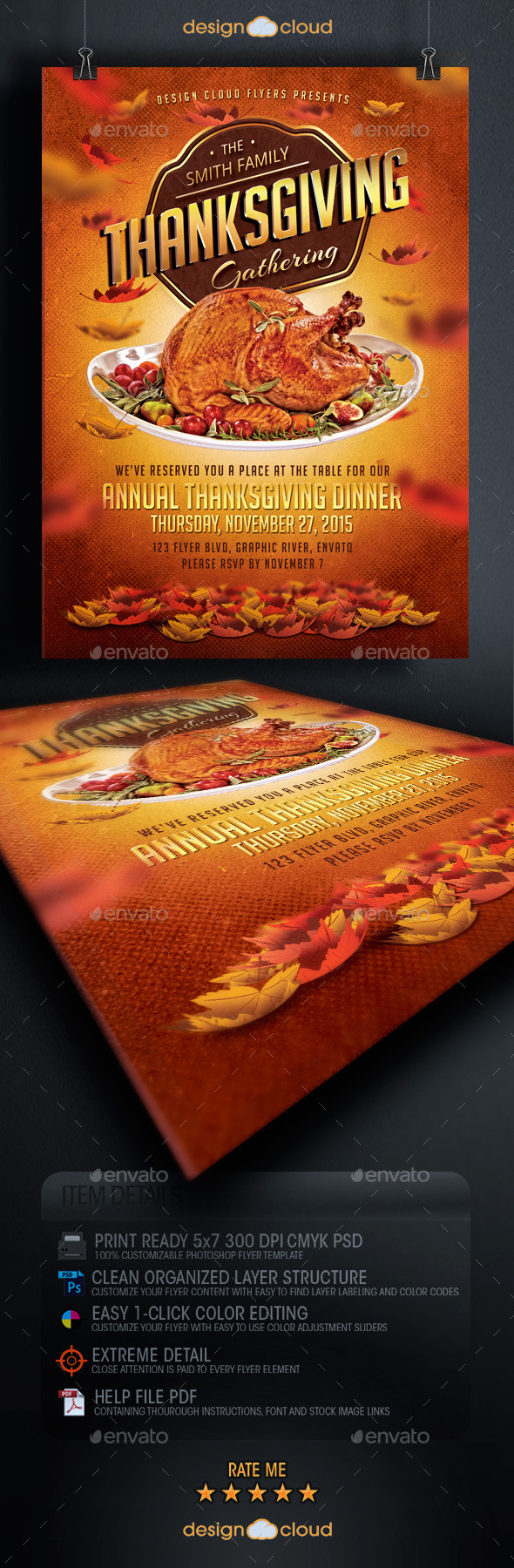 GraphicRiver Thanksgiving Dinner Flyer Template 9133990