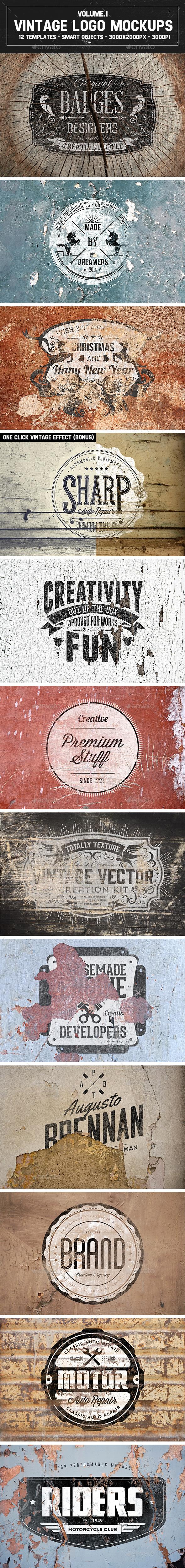GraphicRiver 12 Vintage Logo Mockups Vol.1 9159219