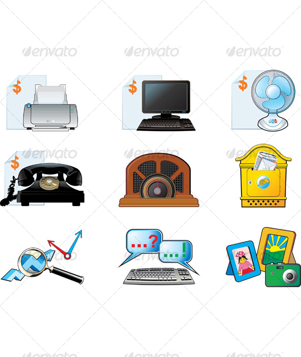 Office vector icon set