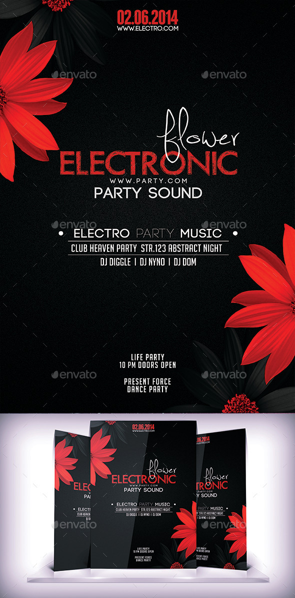 GraphicRiver Electronic Floral Flyer 9159580