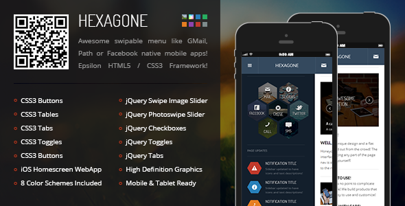 Hexagone | Mobile Retina HTML5 & CSS3 with WebApp