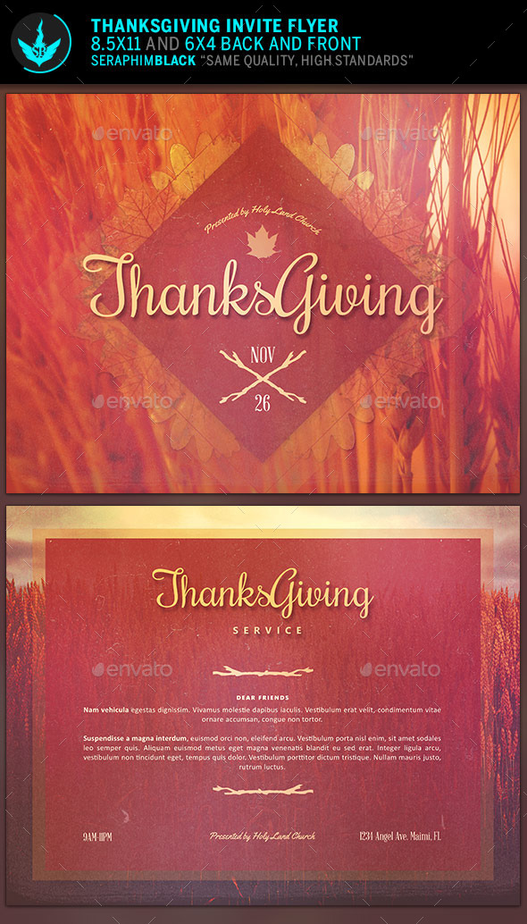 GraphicRiver Thanksgiving Invitation Flyer Template 9160082