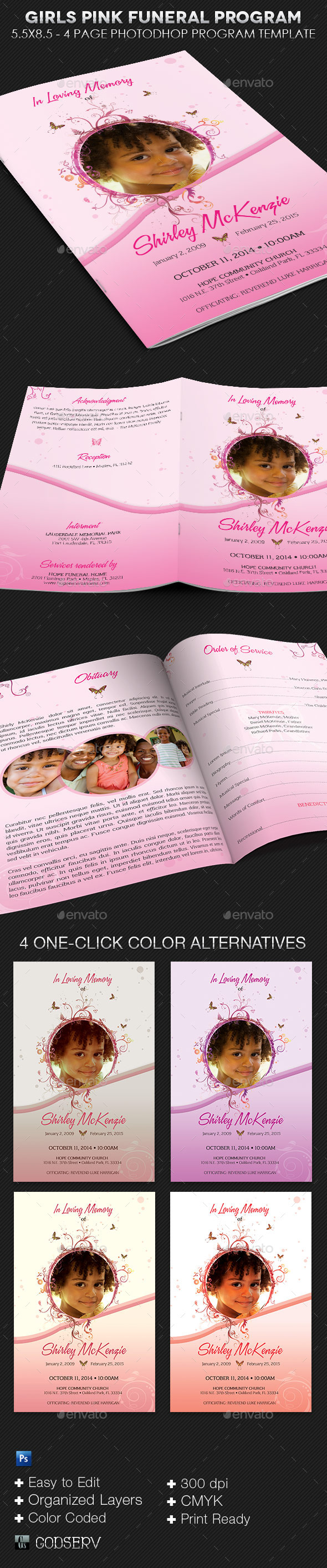 GraphicRiver Girls Pink Funeral Program Template 9160083