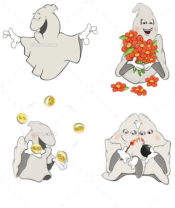 GraphicRiver Ghosts Clip Art Cartoon 9160164