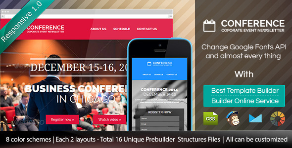 ThemeForest Conference Responsive Email Template & Builder 9160254