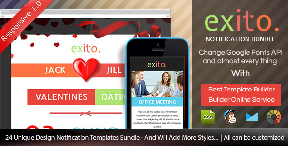 ThemeForest Exito Notificatiion Bundle Email With Builder 9160297