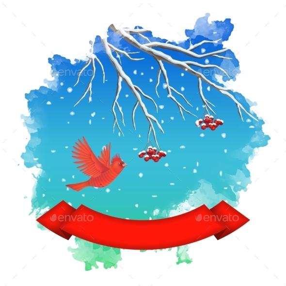 GraphicRiver Watercolor Splash Winter Landscape 9160479