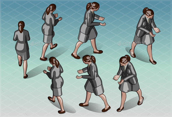 Isometric Woman that Transporting Something