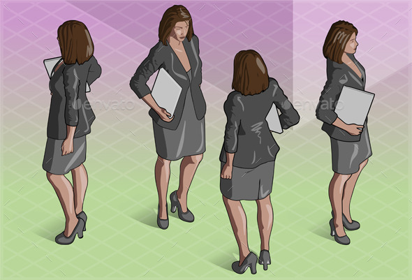GraphicRiver Isometric Woman Secretary Standing 9161190