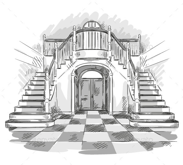 GraphicRiver Spacious Hall and Staircase Drawing 9161756