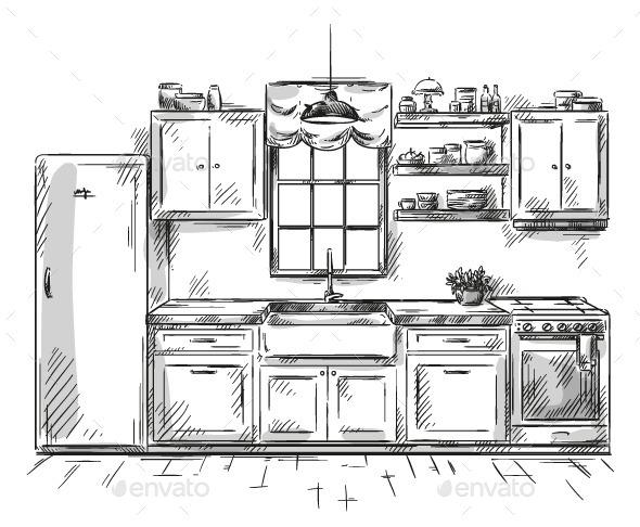GraphicRiver Kitchen Interior Drawing Vector Illustration 9161777