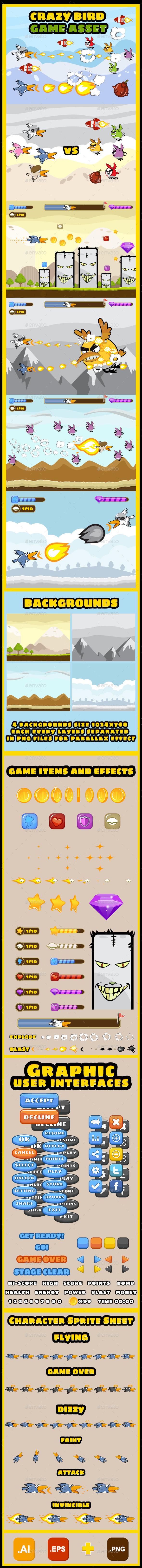 GraphicRiver Crazy Birds Game UI Kit 9094403