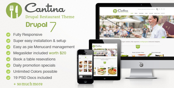 Cantina Drupal Theme - Food Restaurant with Commerce - Drupal CMS Themes