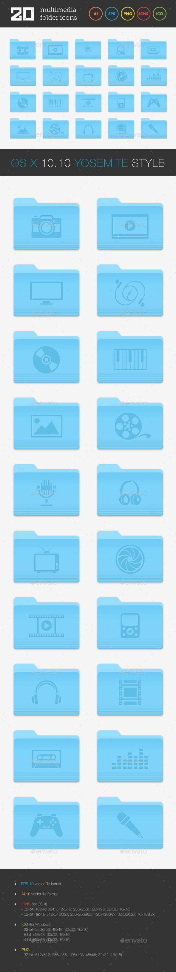 GraphicRiver Multimedia Folder Icons Set 9162188