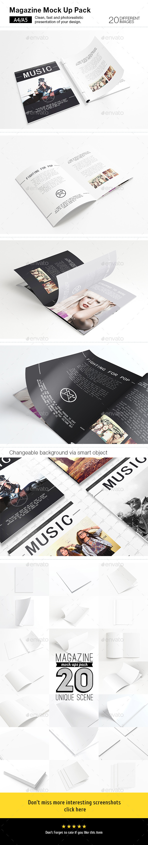 GraphicRiver 20 Magazines Mock-ups Pack 9162237