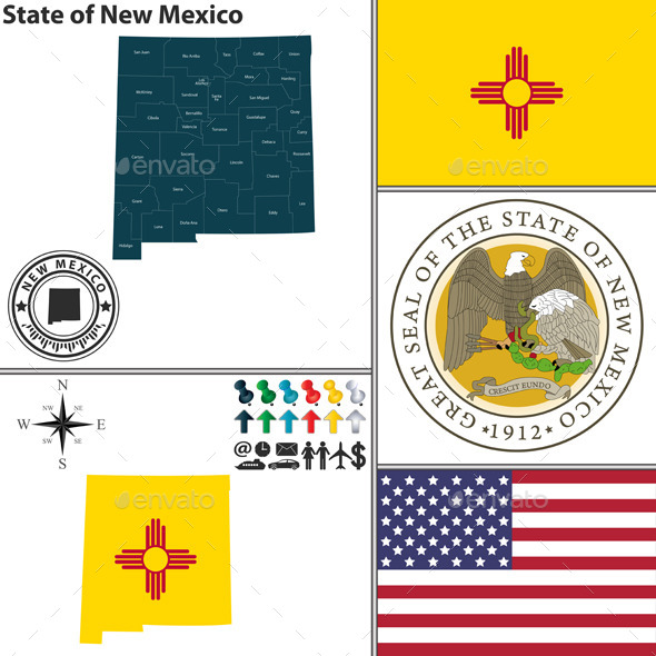 GraphicRiver Map of state New Mexico USA 9163292