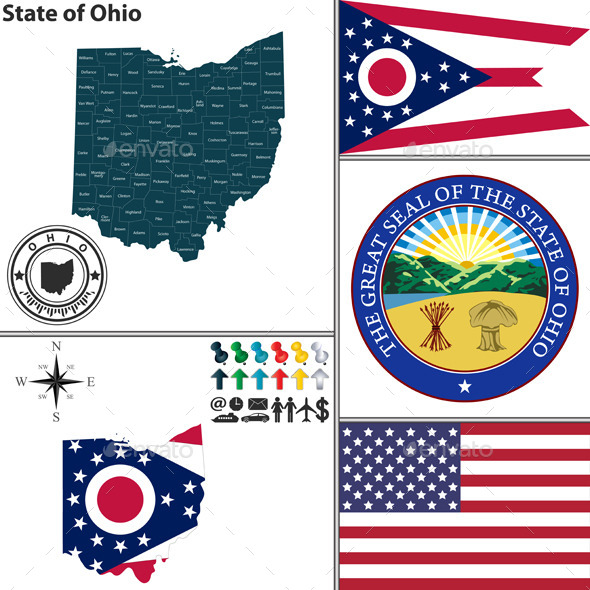 GraphicRiver Map of state Ohio USA 9163384