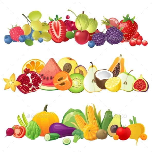 GraphicRiver Fruits Vegetables and Berries Borders 9164289