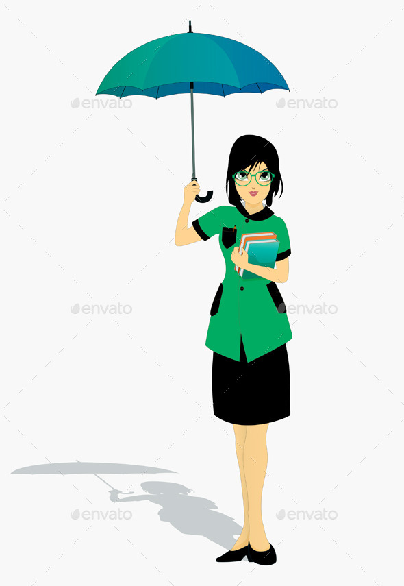 GraphicRiver Student Holding an Umbrella 9164439