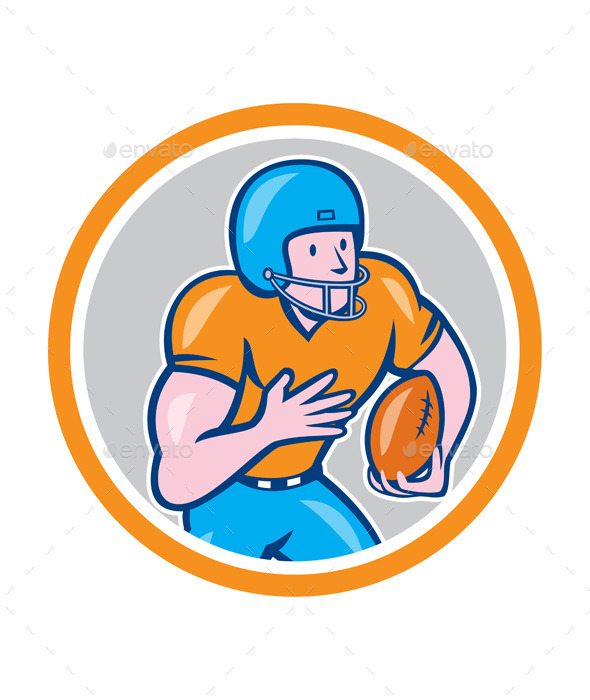 GraphicRiver American Football Receiver Running Ball Circle 9164541