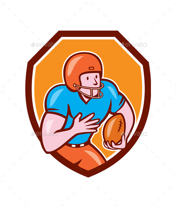 GraphicRiver American Football Receiver Running Ball Shield 9164555