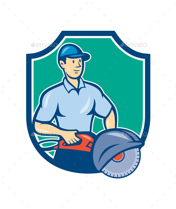 GraphicRiver Construction Worker Concrete Saw Consaw Cartoon 9164607