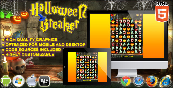 CodeCanyon Halloween Breaker HTML5 Puzzle Game 9164614