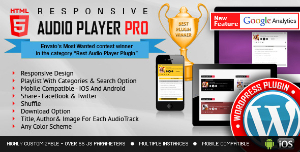 Responsive HTML5 Audio Player PRO WordPress Plugin - CodeCanyon Item for Sale