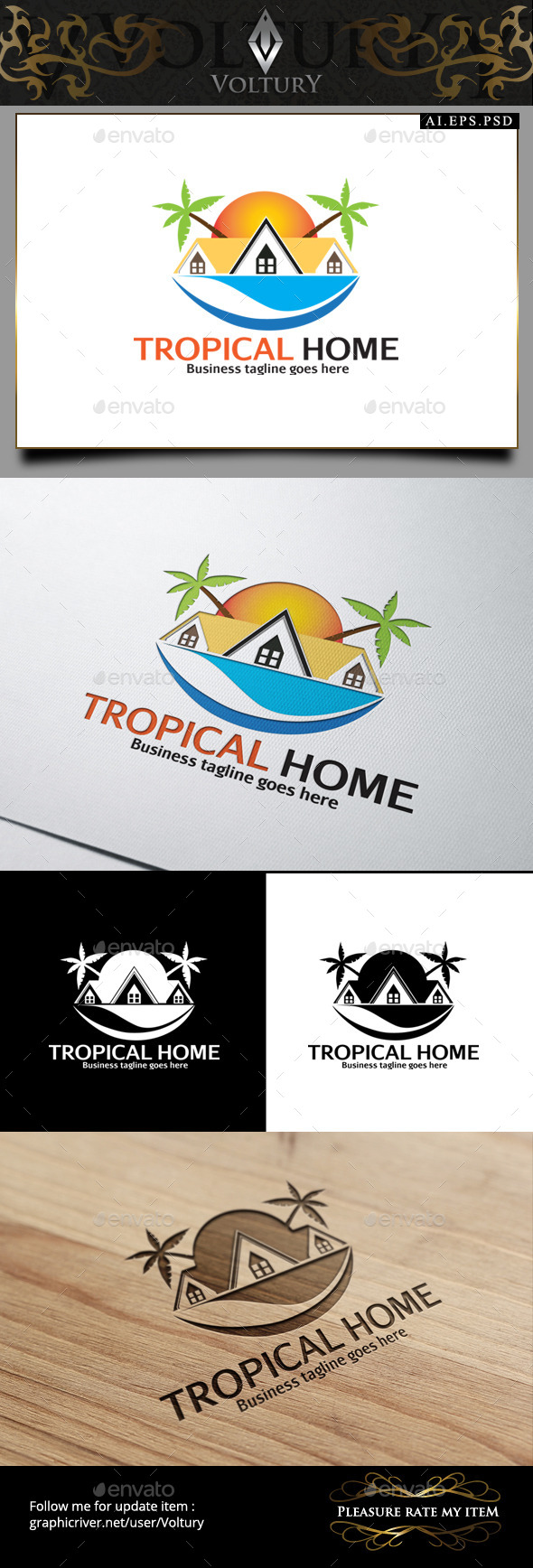 GraphicRiver Tropical Home Logo 9164886